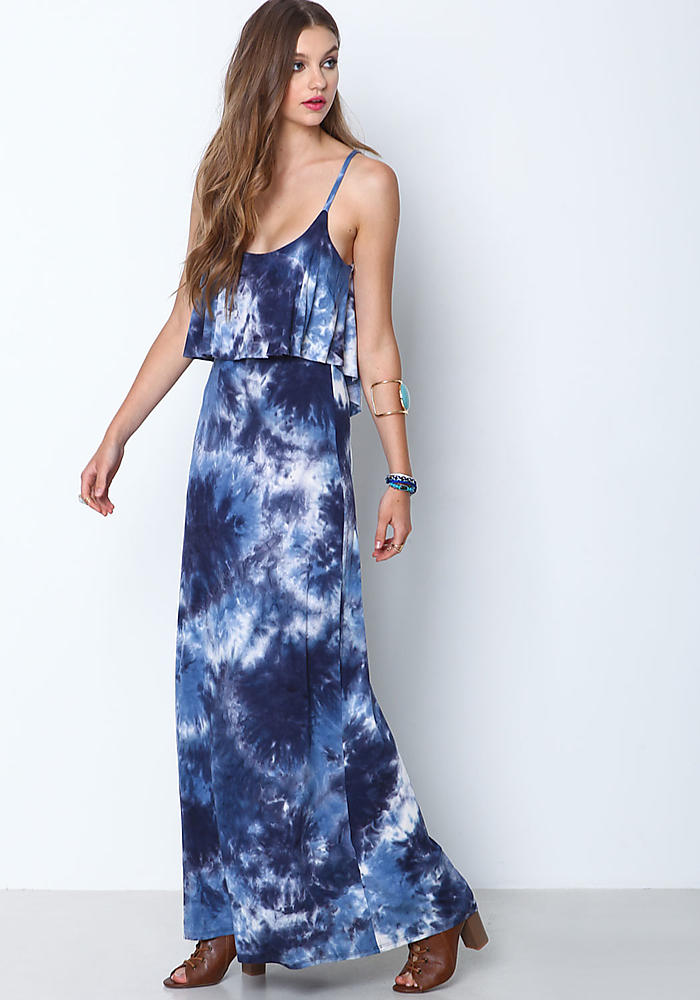 Blue Smoky Tie Dye Maxi Dress