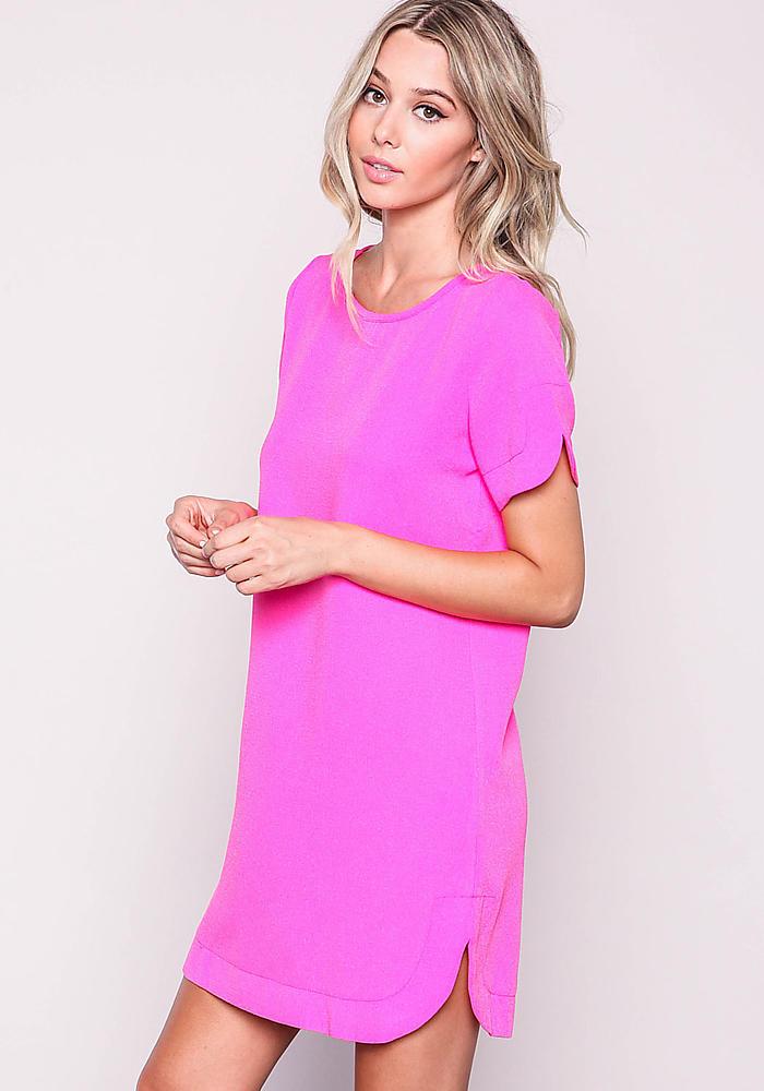Hot Pink Woven Boxy Shift Dress