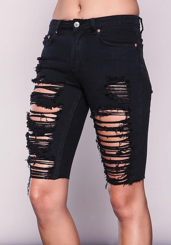 Junior Clothing Black Shredded Bermuda Shorts