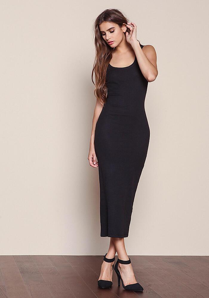 Junior Clothing Black Plush Ribbed Knit Maxi Dress Loveculture