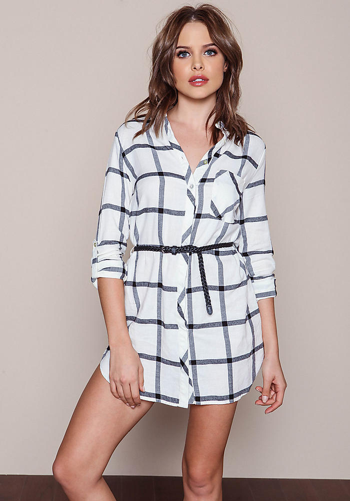 Junior Clothing | White Grid Flannel Belted Shirt Dress ...