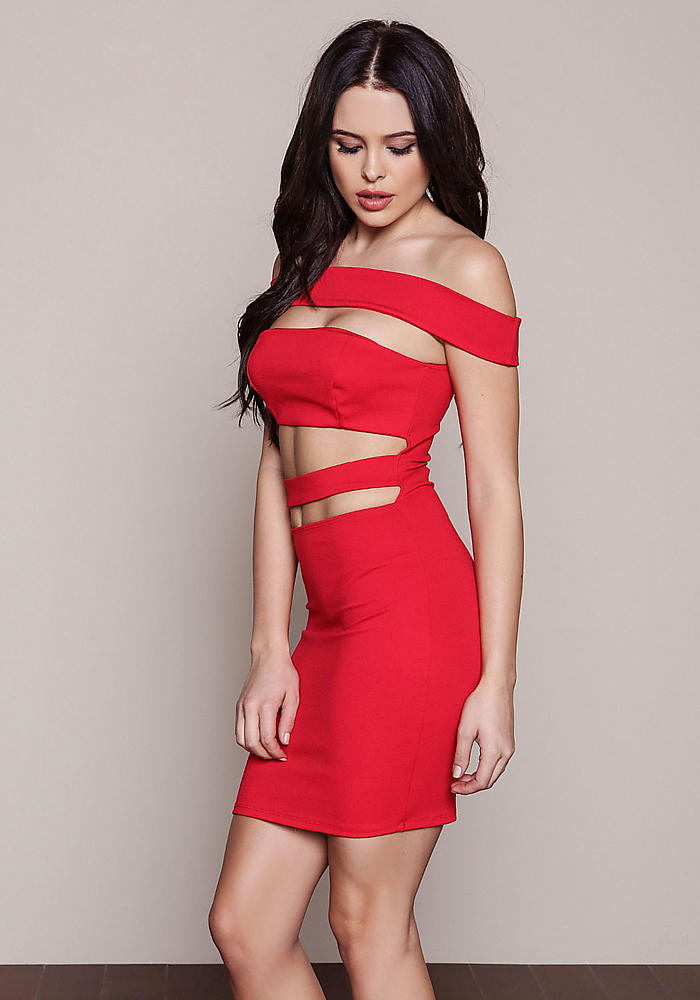 Junior Clothing | Red Kylie Cut Out Plus Bodycon Dress | Loveculture.com
