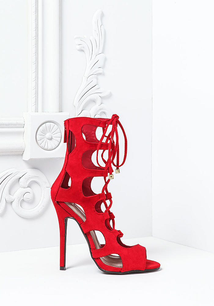 Red Suedette Lace Up Heels