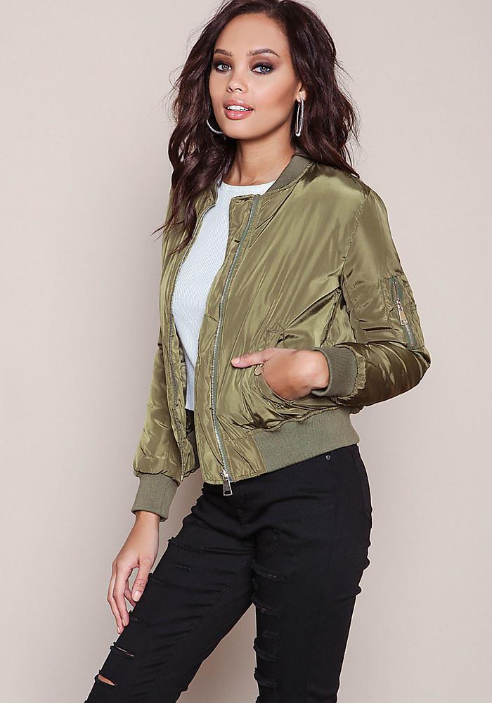 Olive Satin Bomber Jacket