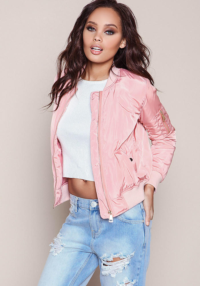 Junior Clothing | Pink Satin Bomber Jacket | Loveculture.com