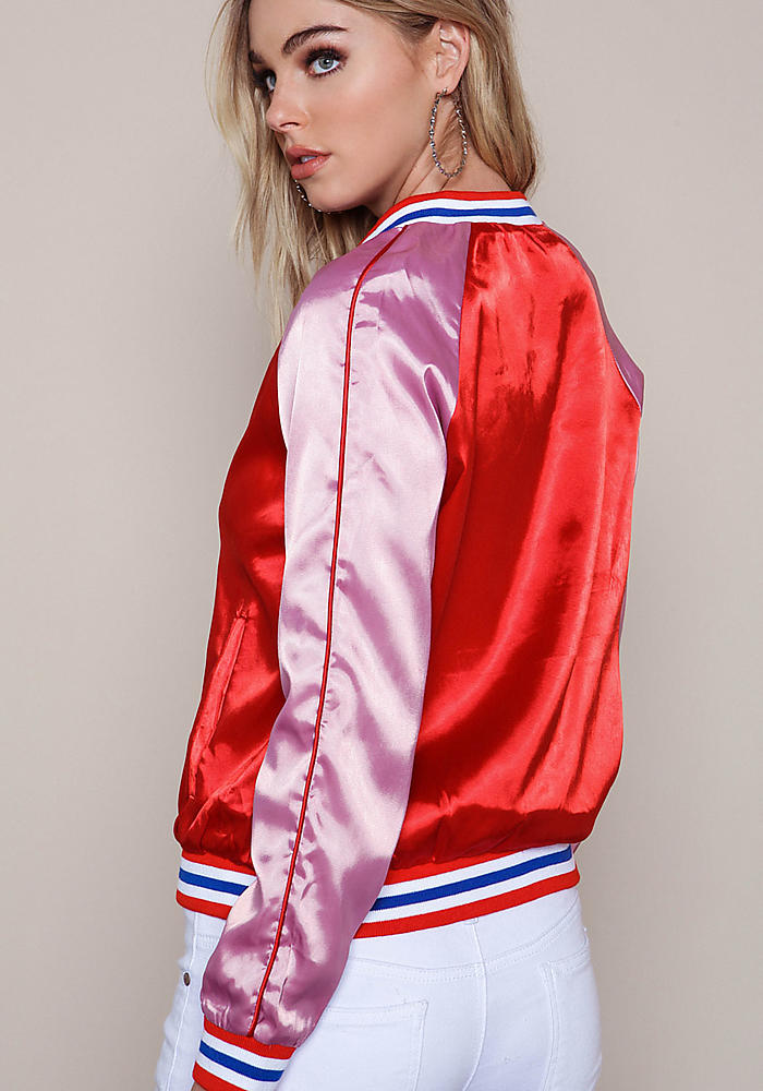 Red Pink Silky Satin Bomber Jacket