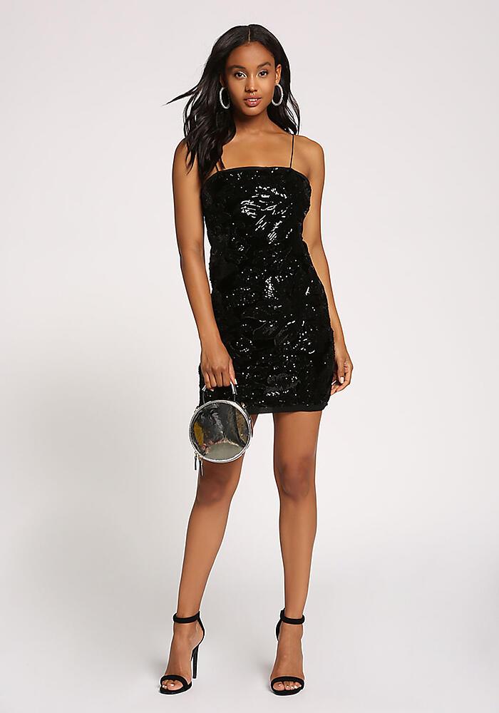 1e007398bbf6 Junior Clothing | Black Velvet Sequin Back Lace Up Bodycon Dress |  Loveculture.com