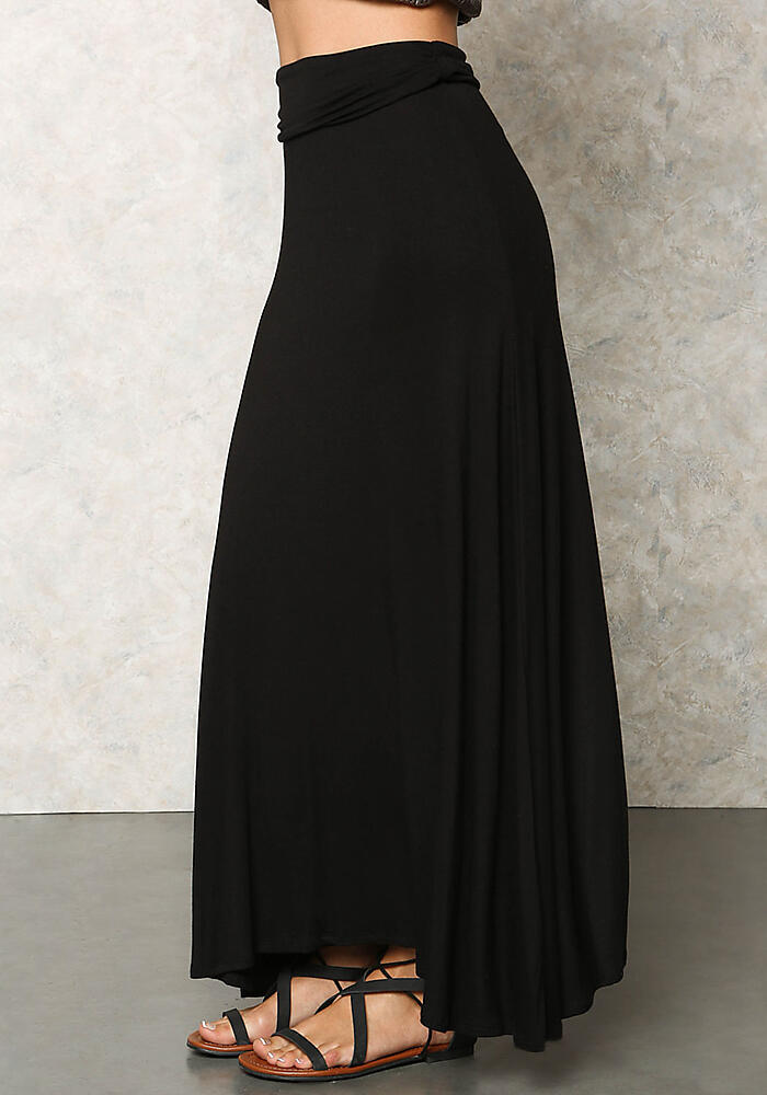 26db4518bf8 Junior Clothing | Black Jersey Knit Fold Over Maxi Skirt | Loveculture.com