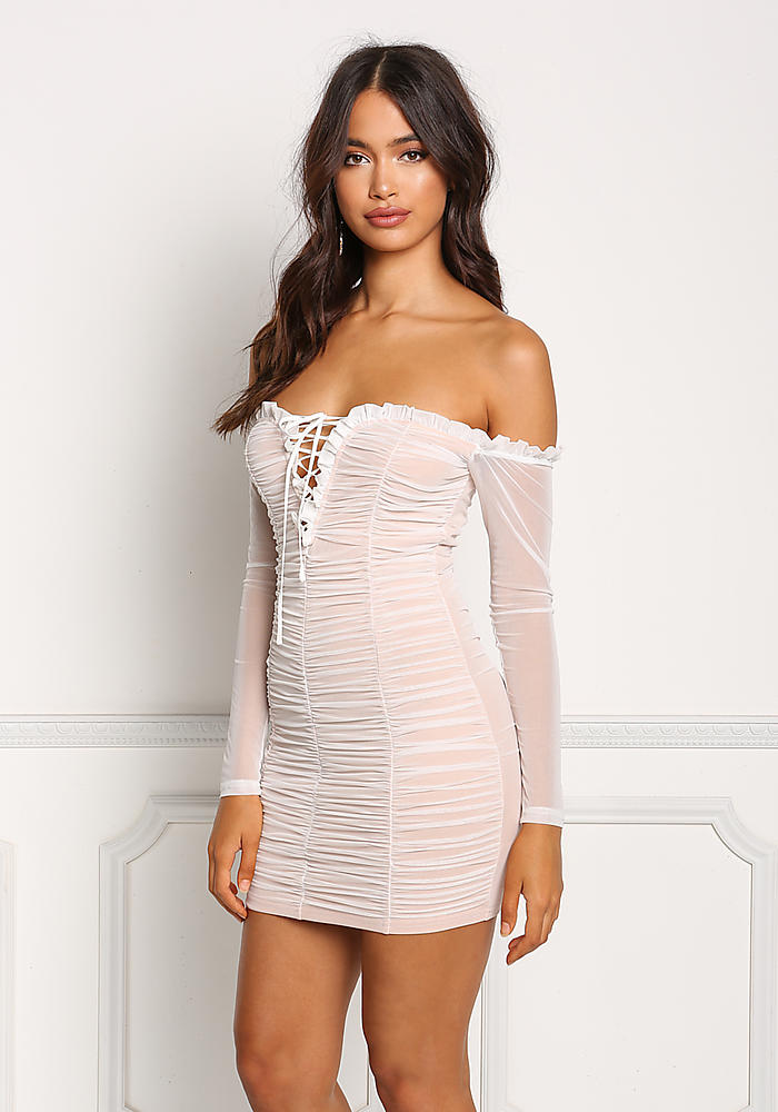 86ad9b191cb4 Junior Clothing | White Mesh Ruched Off Shoulder Bodycon Dress |  Loveculture.com
