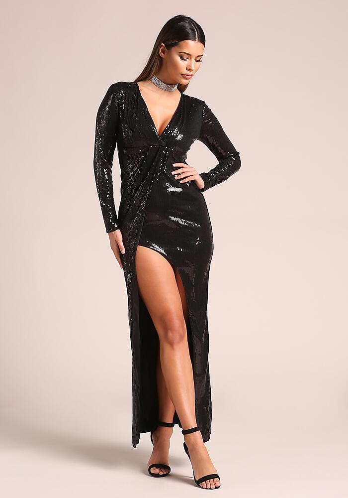 Junior Clothing   Black Sequin High Slit Maxi Gown   Loveculture.com