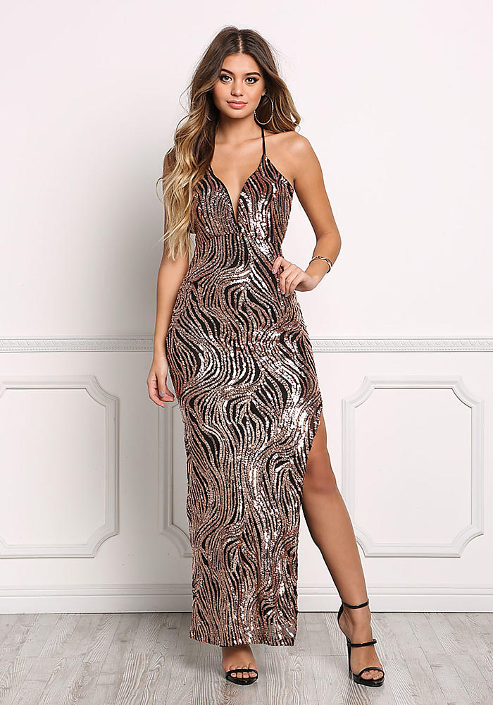Junior Clothing Copper Swirl Sequin Maxi Gown Loveculture