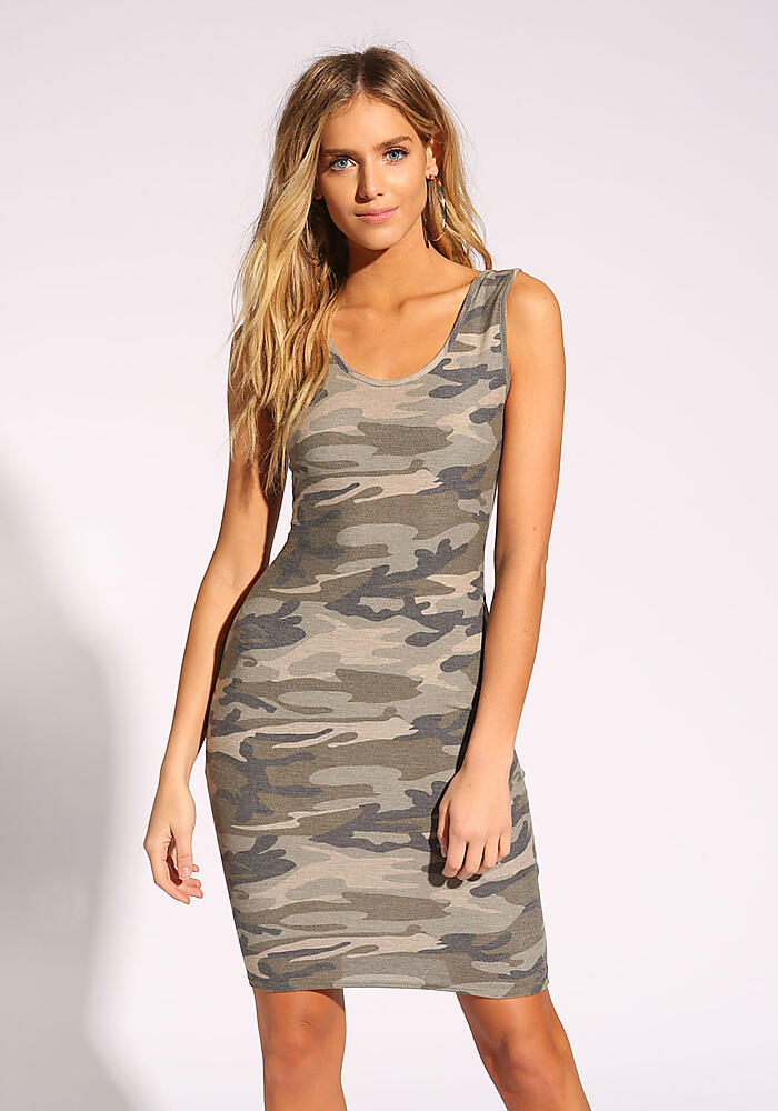 2e08996aa7f2c Junior Clothing   Camouflage Tank Bodycon Dress   Loveculture.com