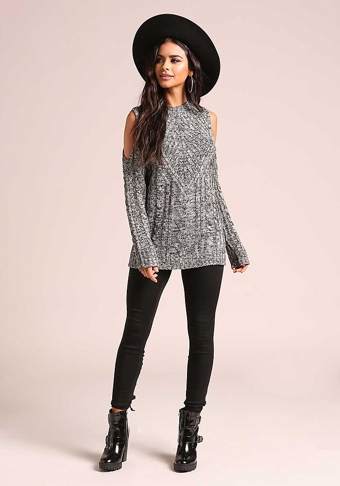 Junior Clothing Grey Marled Cable Knit Sweater Top Loveculture