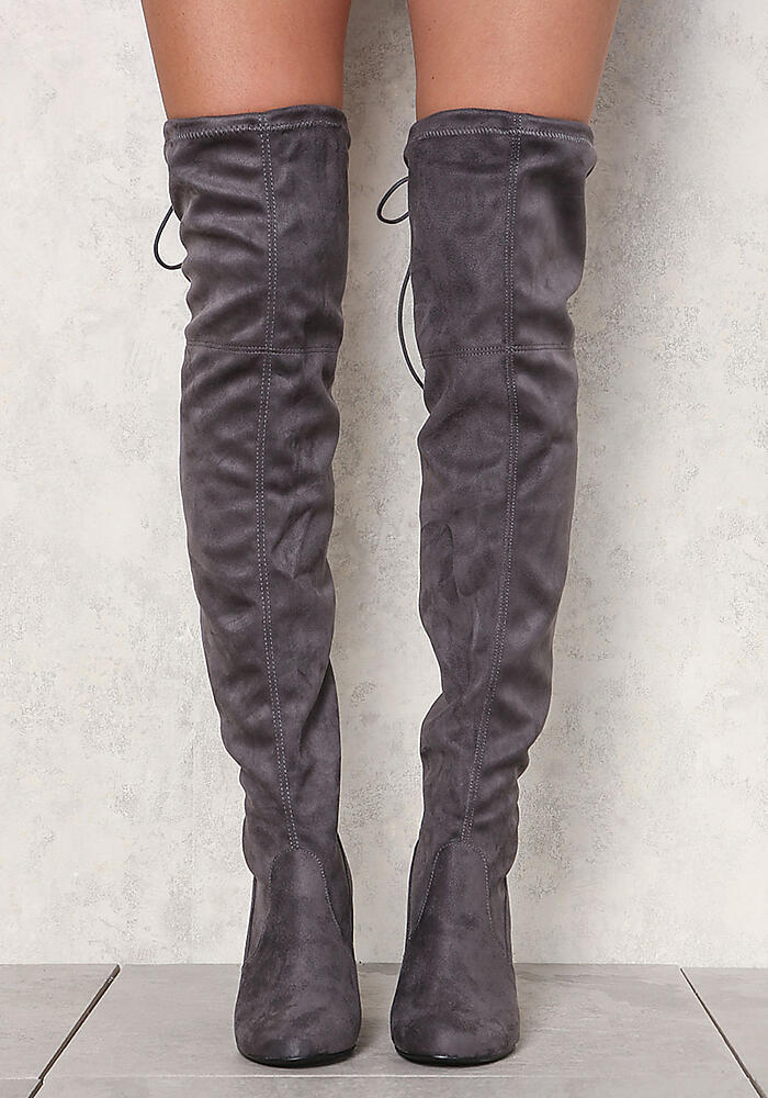 2ad179057f4 Junior Clothing | Charcoal Suedette Thigh High Boots | Loveculture.com