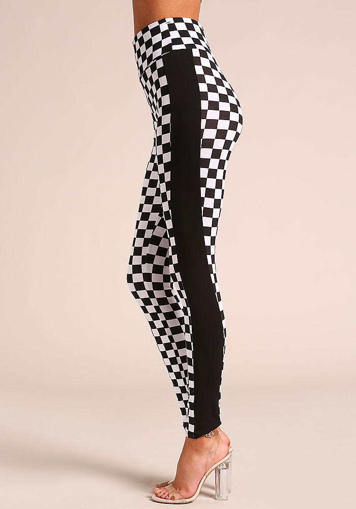 d4cfd0f923d45 Junior Clothing   Black and White Checkered Leggings   Loveculture.com