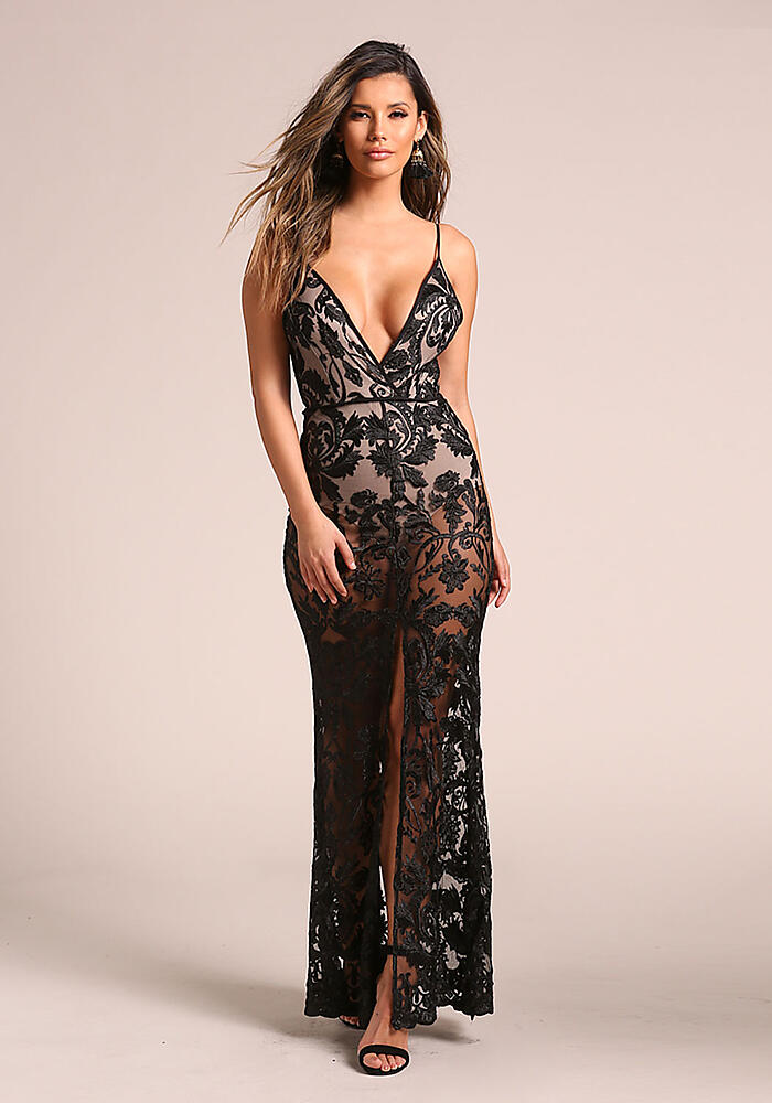 Junior Clothing | Black Floral Embroidered Plunge Slit Maxi Gown ...