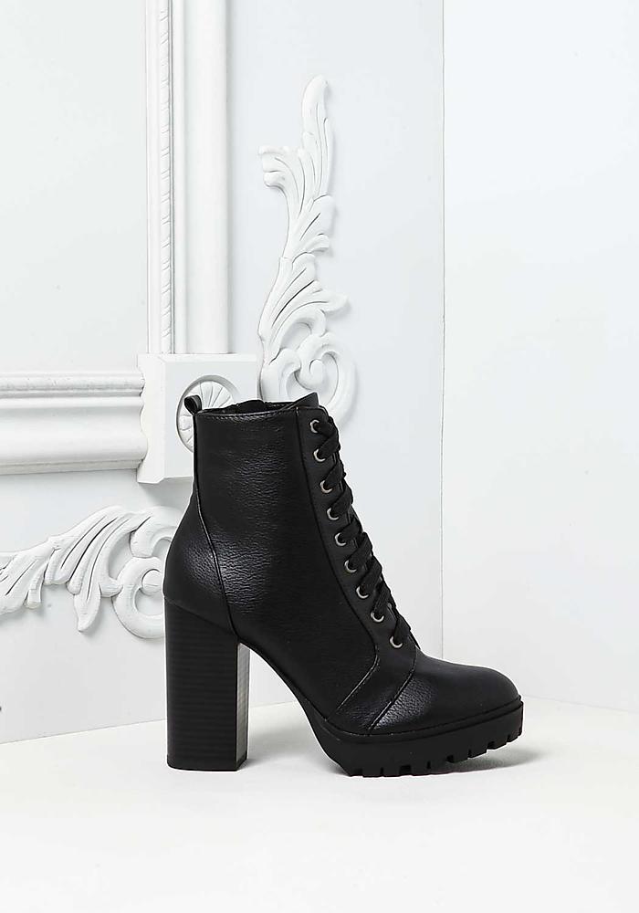 806b0a30280 Black Lace Up Block Heel Combat Boots