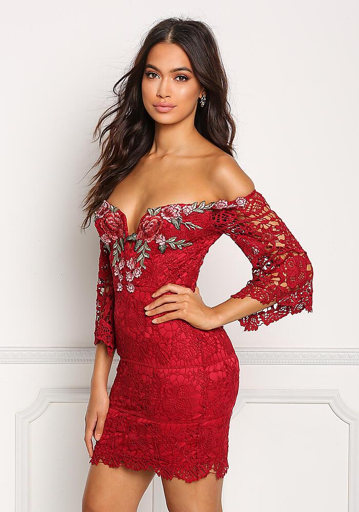 Junior Clothing | Burgundy Off Shoulder Rose Applique Embroidered Dress | Loveculture.com | Tuggl