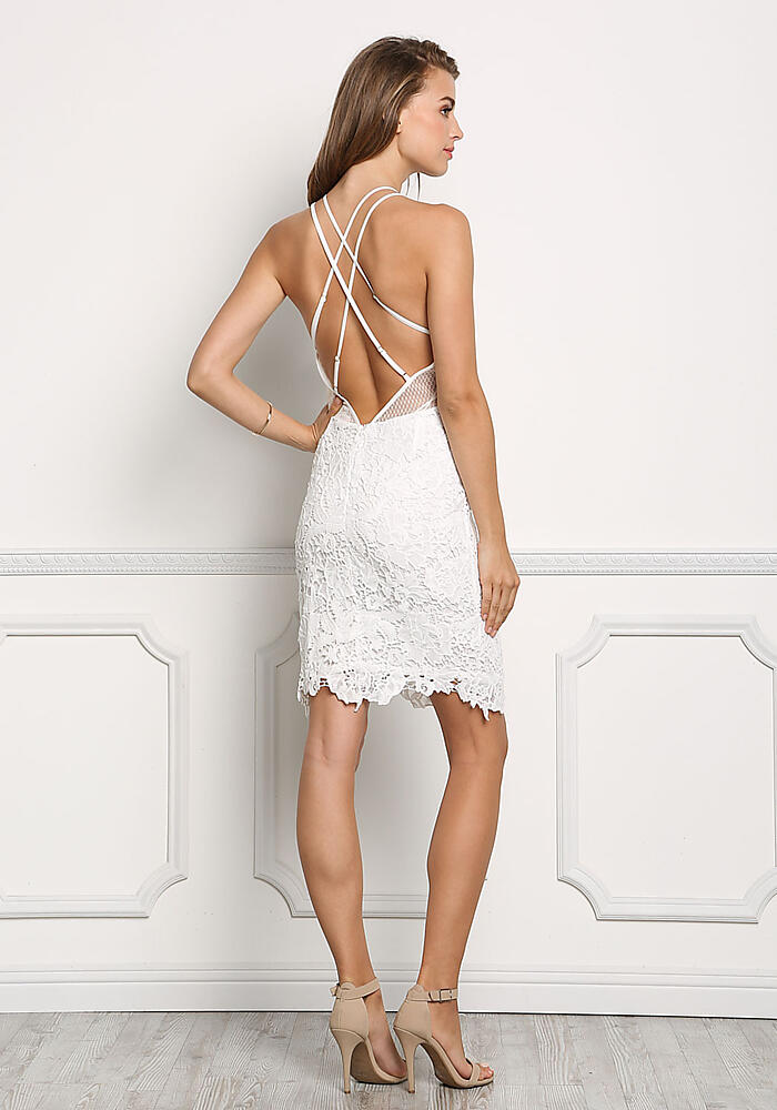 Junior Clothing White Floral Crochet Cross Strap Dress
