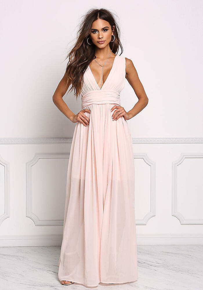 139c0d40aa Junior Clothing | Blush Chiffon Plunge V Maxi Gown | Loveculture.com