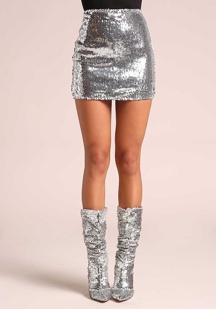 4ae797b340 Junior Clothing | Silver Sequin High Rise Mini Skirt | Loveculture.com