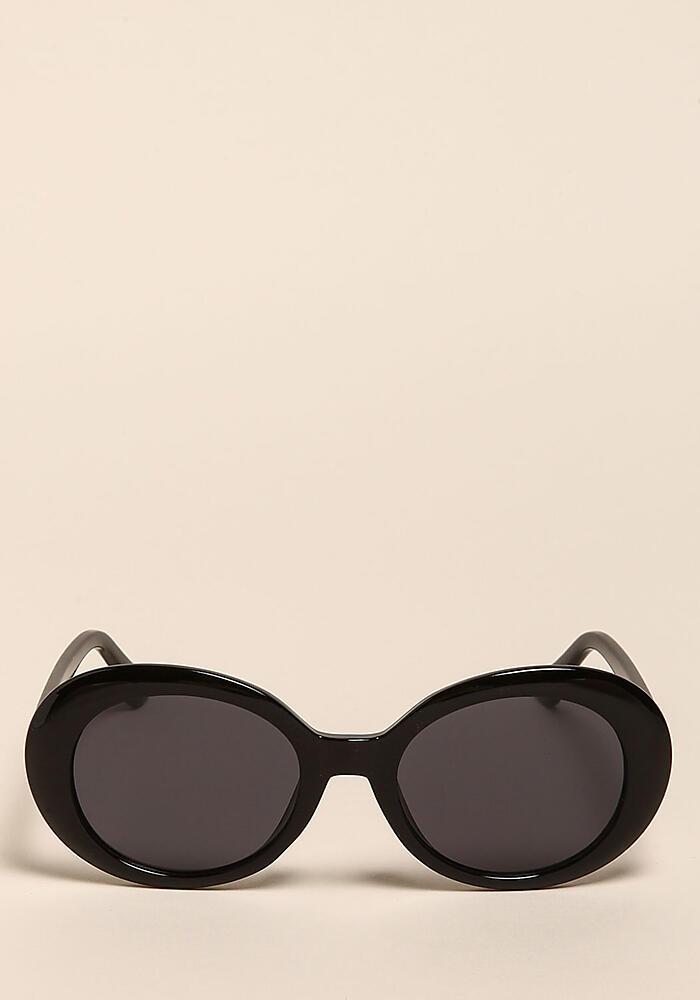 Junior Clothing | Black Oval Thick Frame Sunglasses | Loveculture.com