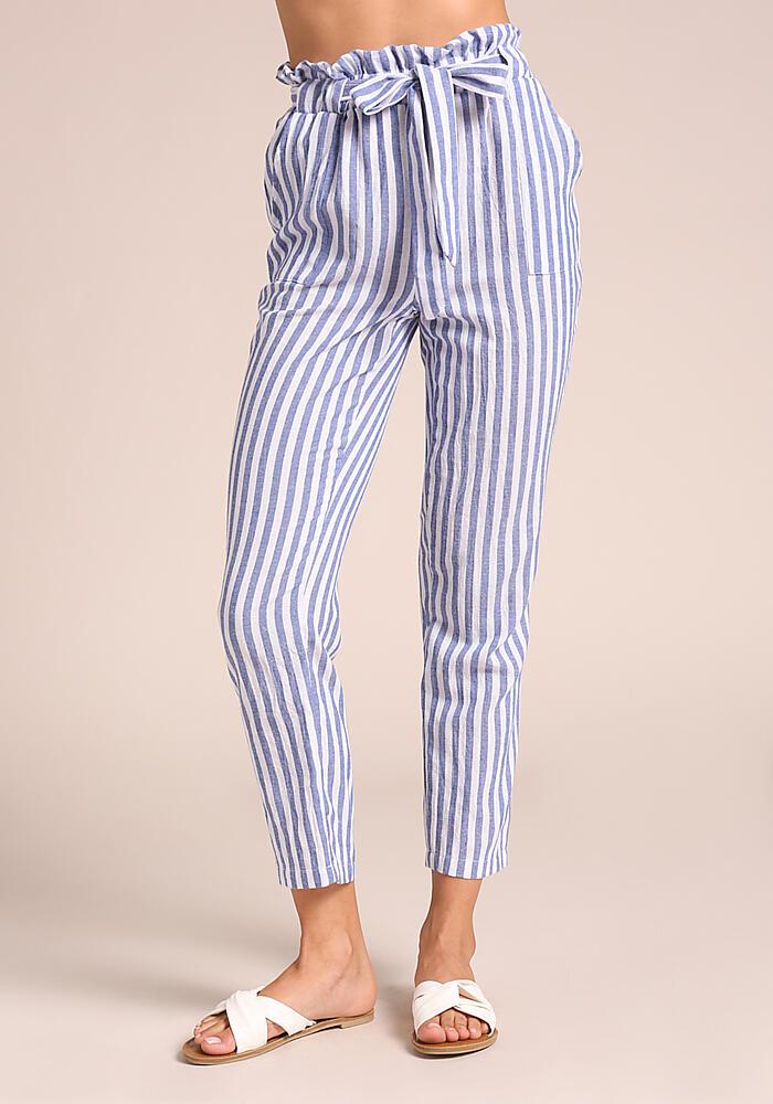 Junior Clothing Blue Pinstripe Paperbag Tie Front Pants