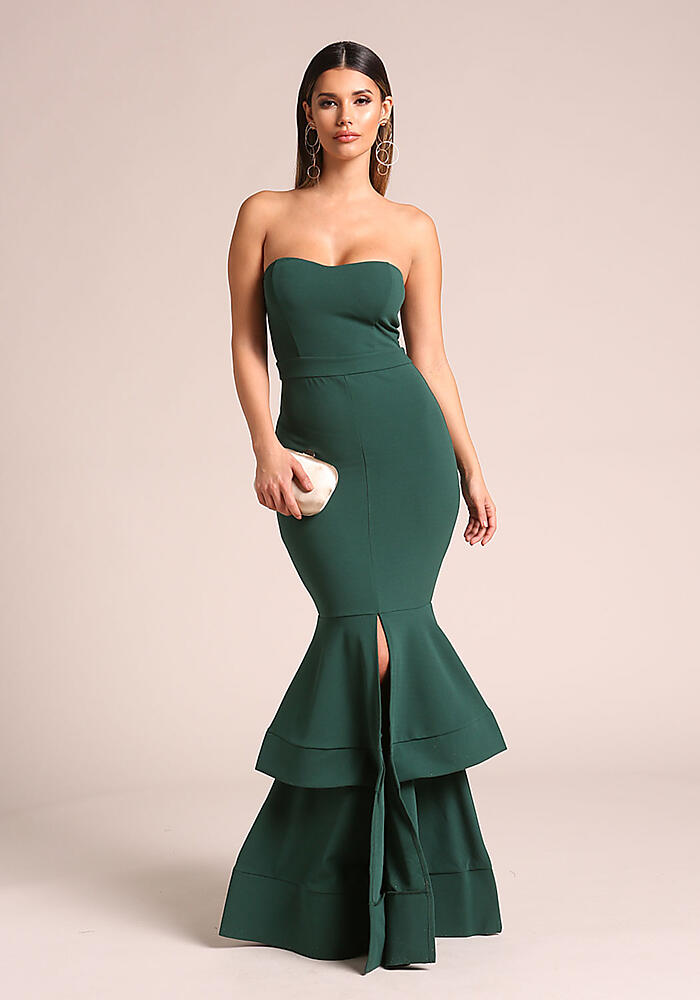 Junior Clothing | Hunter Green Strapless Tiered Mermaid Gown ...
