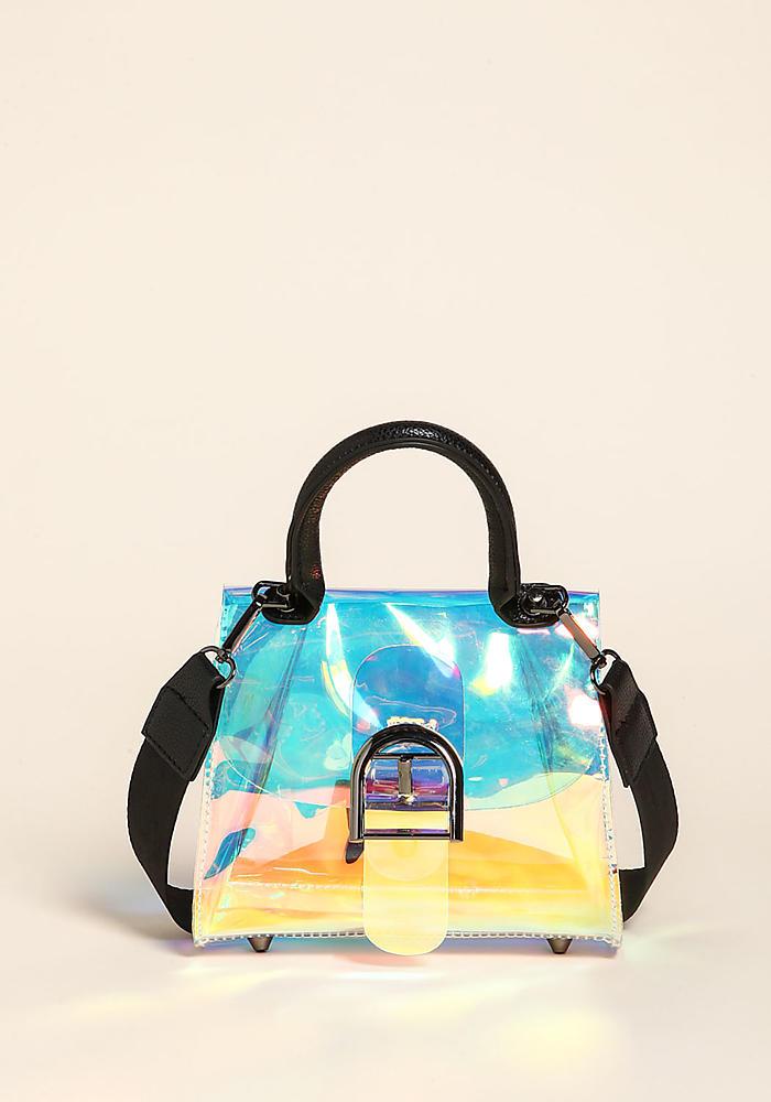 Junior Clothing Multi Clear Iridescent Tote Crossbody Bag Loveculture