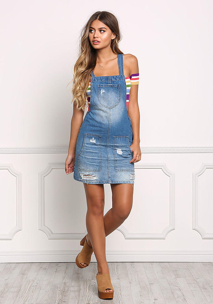 30de34fd328 Junior Clothing Denim Distressed Dress Overalls Loveculture