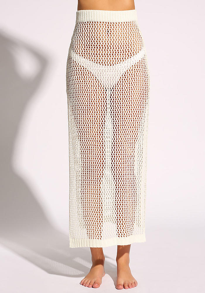 Junior Clothing White Crochet Slit Cover Up Maxi Skirt