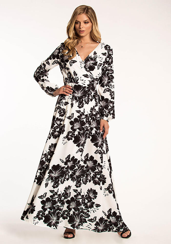 cf59a2cfc23a Junior Clothing | Black and White Floral Wrap Maxi Dress | Loveculture.com