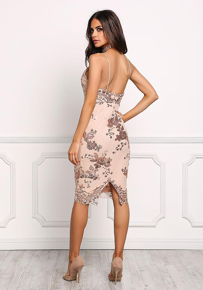 Junior Clothing Rose Gold Sequin Bodycon Dress Loveculture Com