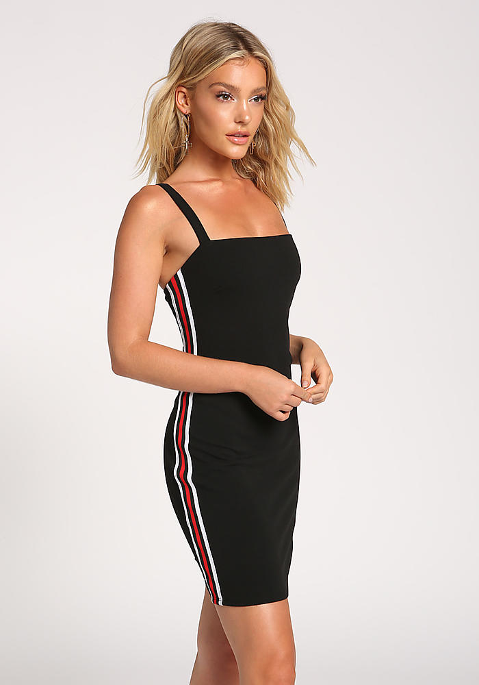 Junior Clothing Black Side Stripe Bodycon Dress Loveculture