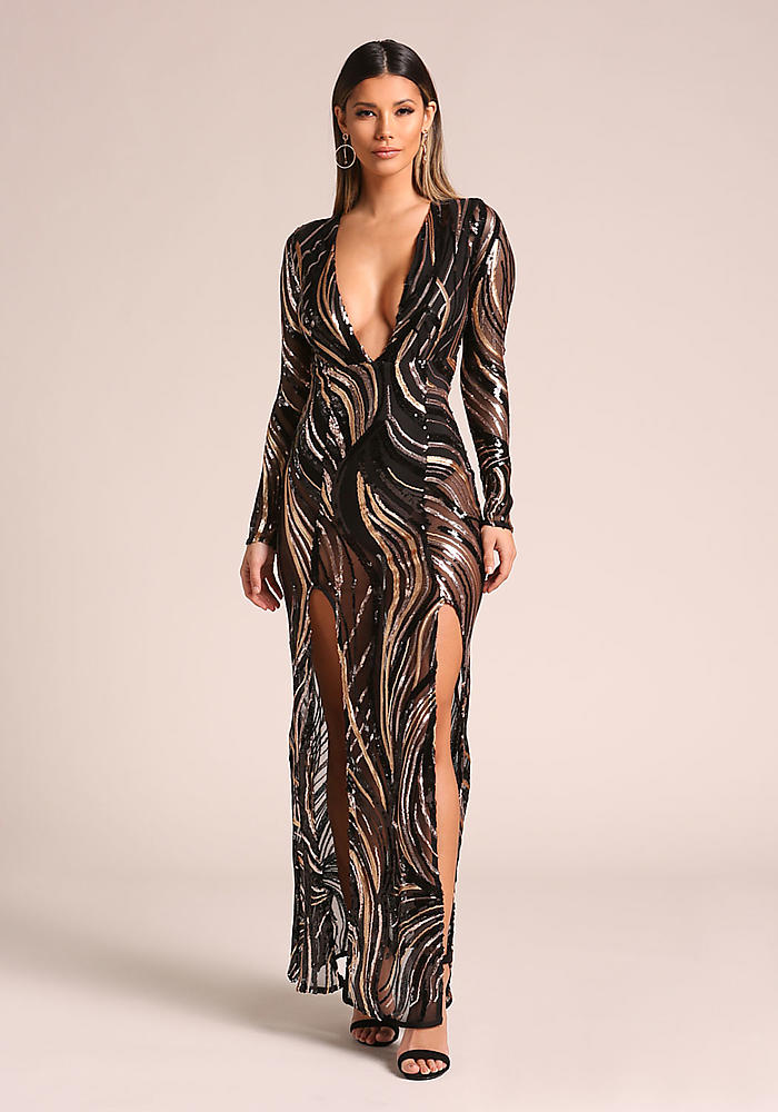 Junior Clothing Gold And Black Sequin Plunge Double Slit Maxi
