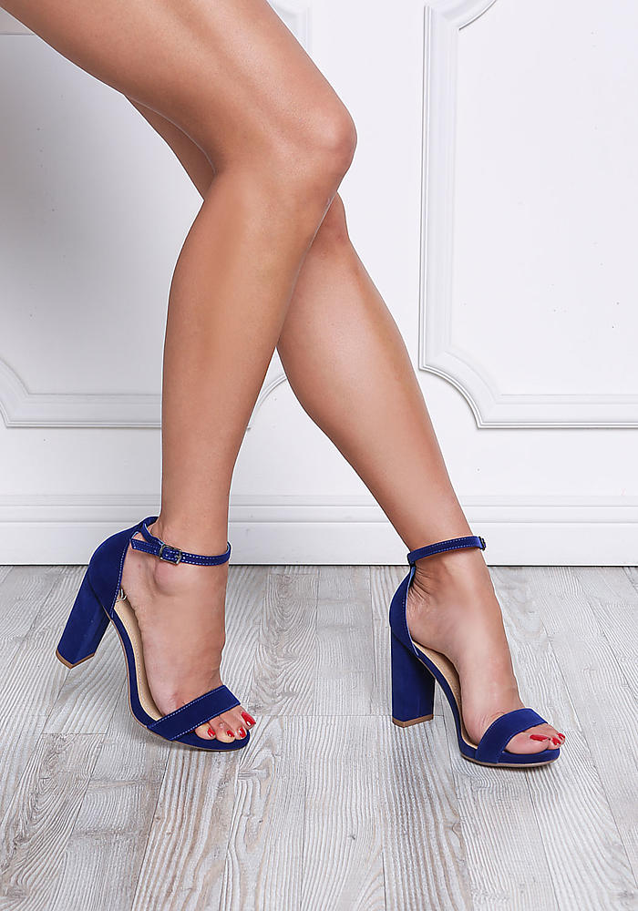 los angeles 5a65c 840f2 Junior Clothing   Royal Blue Velvet Ankle Strap Block Heels    Loveculture.com