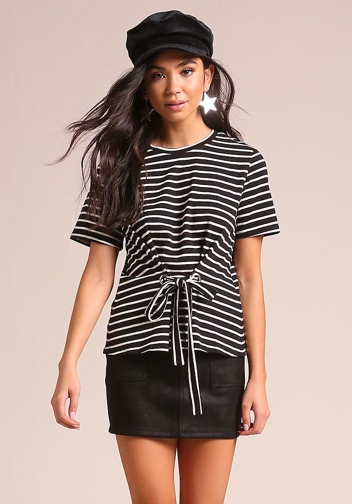Junior Clothing | Black Stripe Tie Front Tee | Loveculture.com | Tuggl
