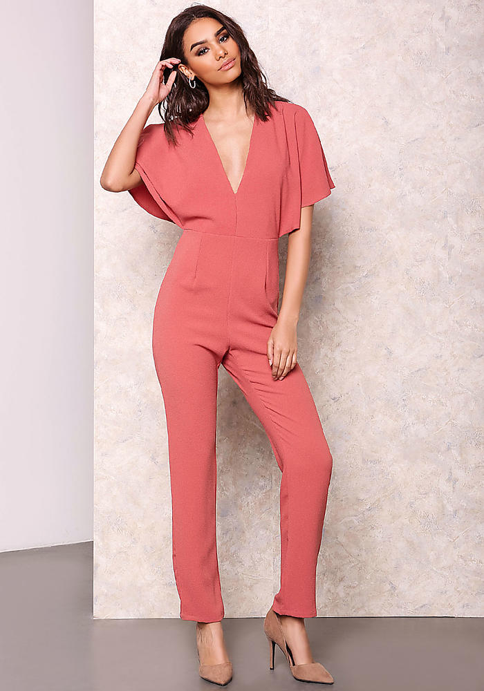 Junior Clothing | Coral Capelet V Plunge Jumpsuit | Loveculture.com