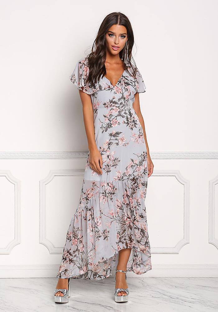 6203e1ece969 Junior Clothing | Dusty Blue Chiffon Cross Strap Floral Maxi Dress |  Loveculture.com