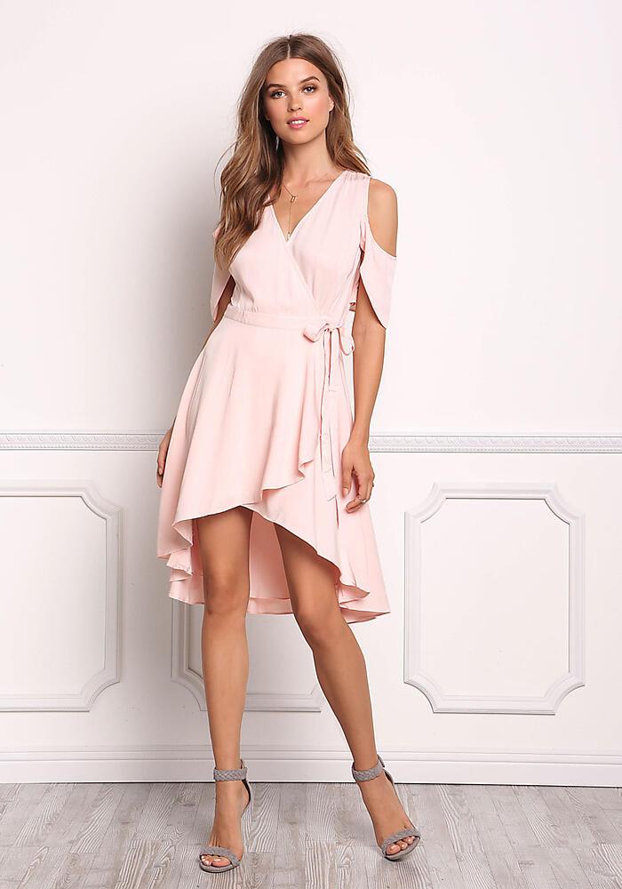 Blush Cold Shoulder Hi-Lo Wrap Dress