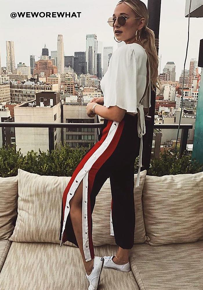 Junior Clothing Black Popper Side Stripe Pants Loveculture Com