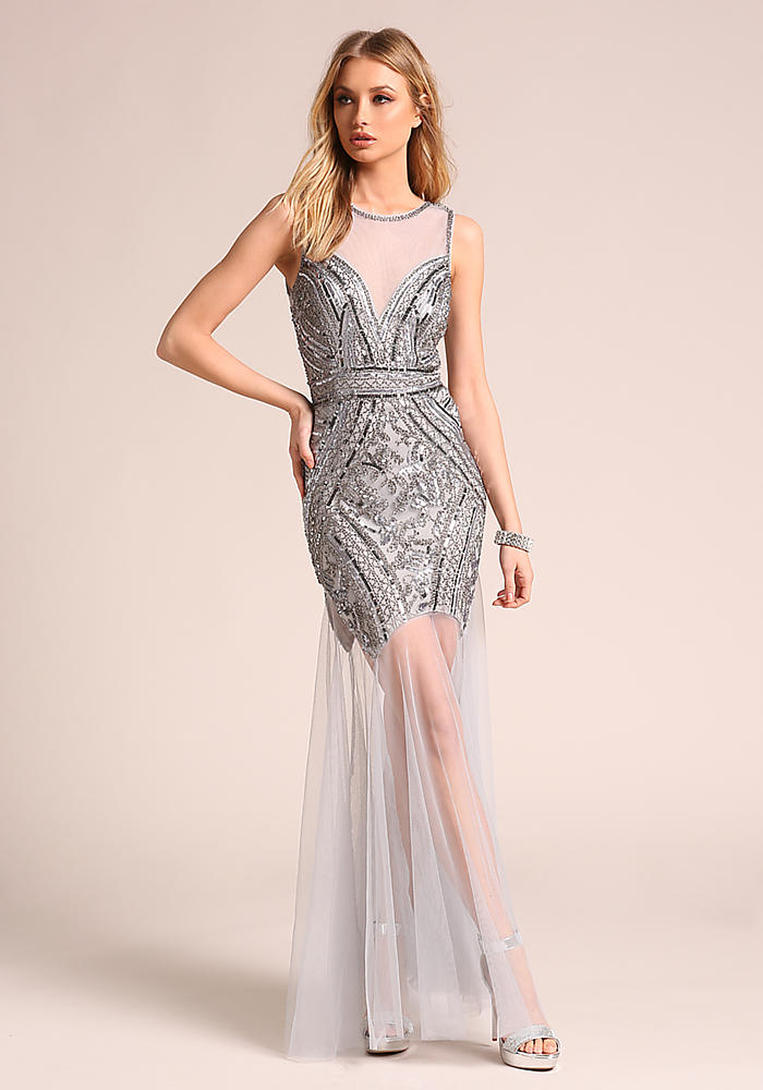 Junior Clothing | Silver Tulle Beaded Mermaid Maxi Gown ...