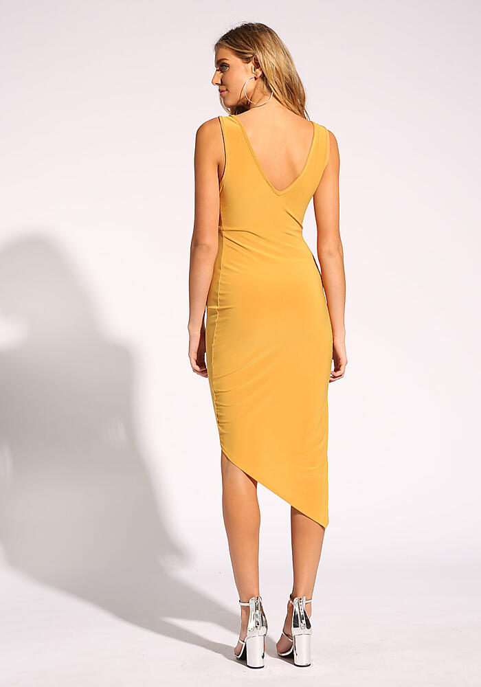 LOVE CULTURE. MUSTARD PLUNGE TWISTED BODYCON DRESS a817691c4