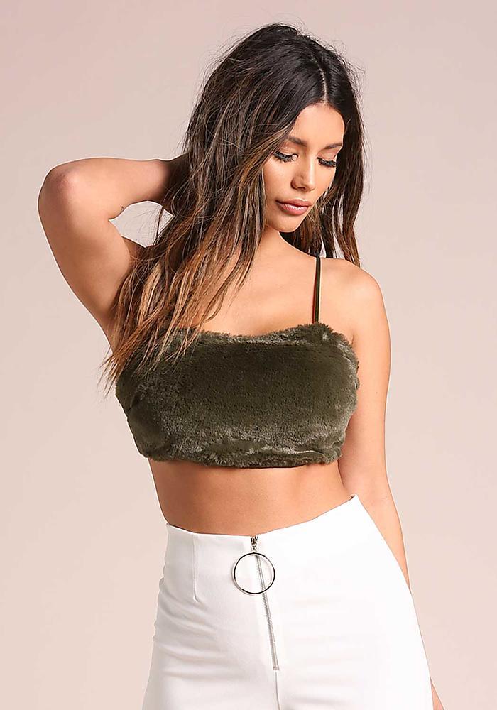 60ea4fba3d1a92 Junior Clothing   Olive Faux Fur Cami Crop Top   Loveculture.com