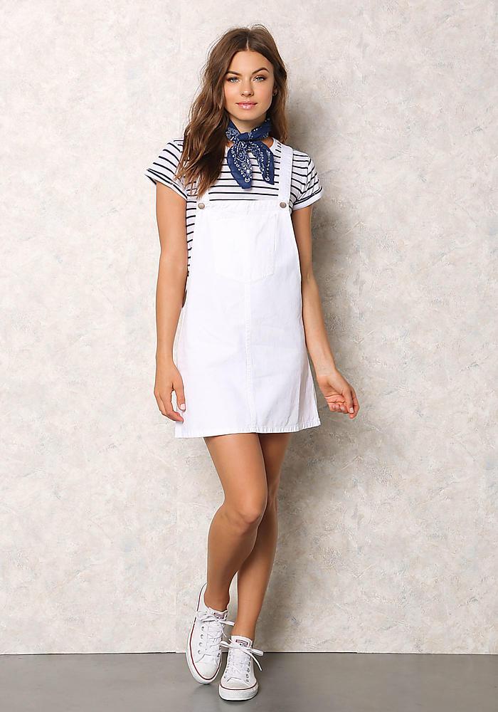 Junior Clothing White Denim Thin Racerback Overall Dress