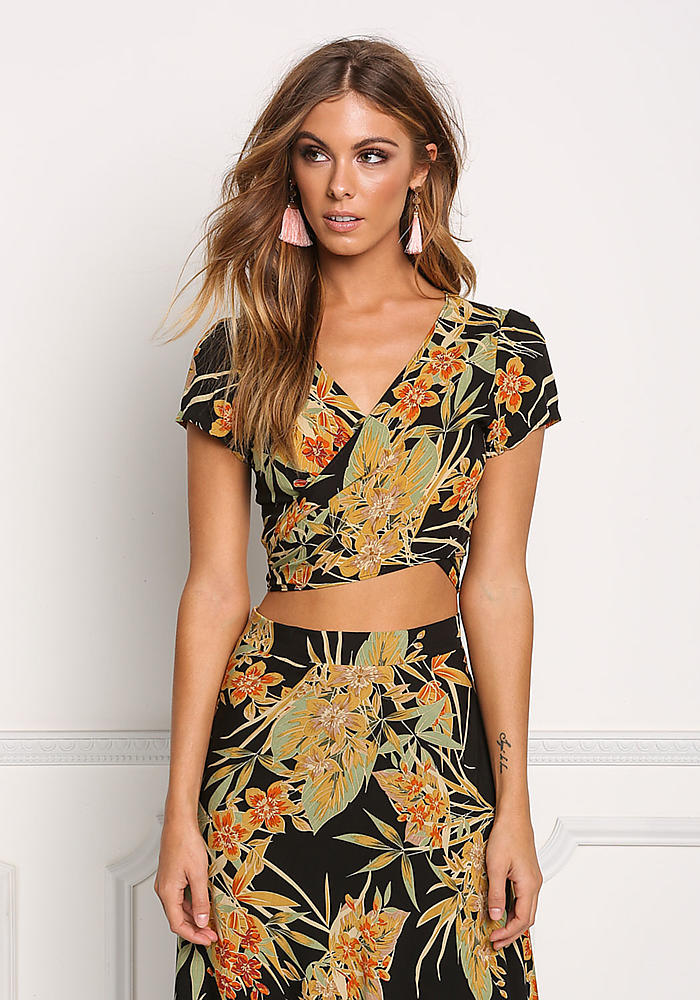 f08aa90144f Junior Clothing   Multi Floral Wrap Around Crop Top   Loveculture.com
