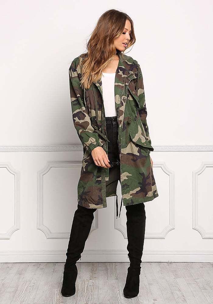52f50636fe8cb Junior Clothing | Camouflage Hooded Longlined Utility Jacket |  Loveculture.com