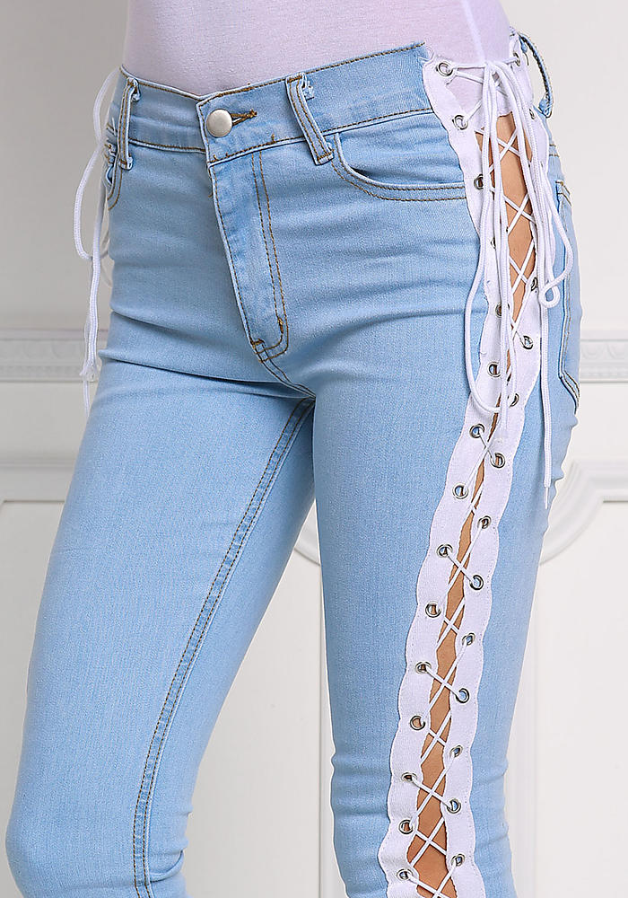 Light Denim Side Lace Up Skinny Jeans