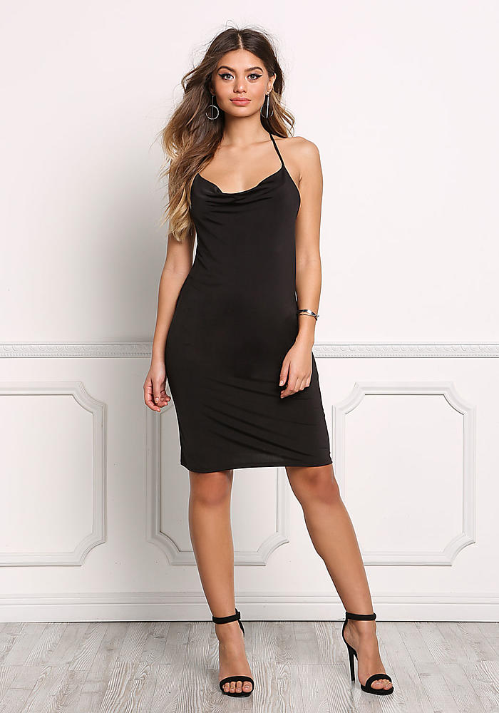 Junior Clothing Black Cross Strap Low Back Bodycon Dress