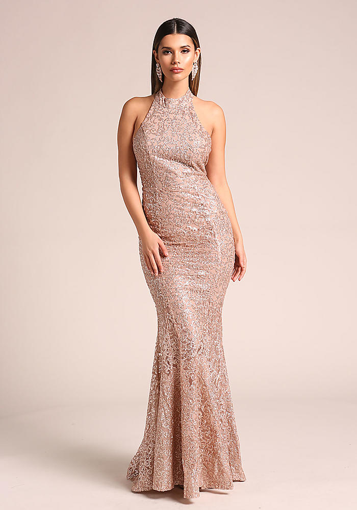 Junior Clothing Rose Gold Glitter Tulle Halter Mermaid Gown Loveculture